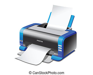 Printer - A Vector colored inkjet printer isolated on white...