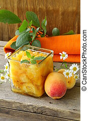 Peach apricot jam in a glass jar