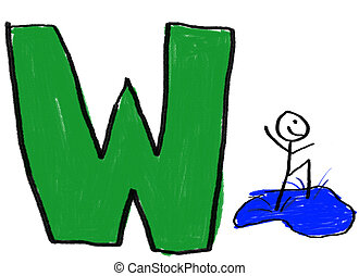 Letter W - A childlike drawing of the letter W, with a stick...