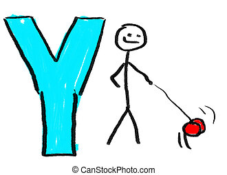 Letter Y - A childlike drawing of the letter Y, with a stick...