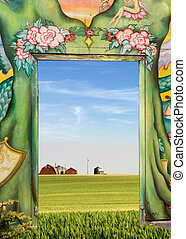 Natures Door - A door leading out into the open prairie