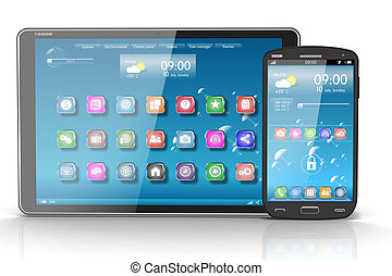 Tablet PC and Smartphone. Concept