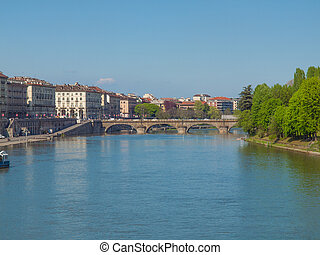 River Po Turin - Fiume Po (River Po) in Turin Italy