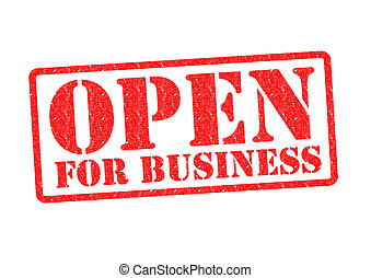 OPEN FOR BUSINESS Rubber Stamp over a white background.