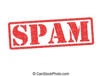 SPAM Rubber Stamp over a white background