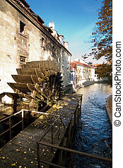 Water Mill - Water mill detail in the old town area of...