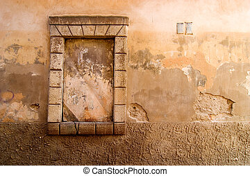 Weathered Wall Background - Window abstract detail on a...