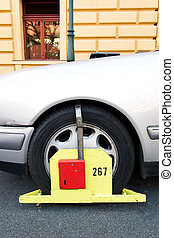 Parking Ticket - A wheel block parking ticket in Prague,...