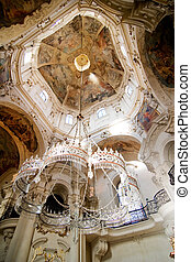 Rococo chandelier - Rococo church ceiling, chandelier and...