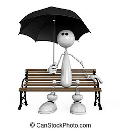 the little man with an umbrella - The 3D white small person...