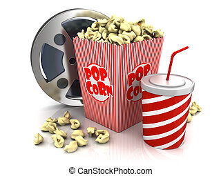 cinema theatre objects - film reel, popcorn and cup of soda...