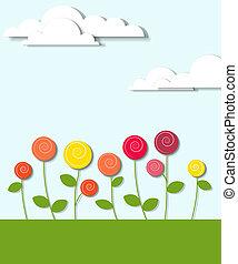 flores, nubes