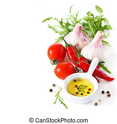 Fresh vegetables. - Spicy olive oil dip and fresh vegetables...