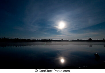 Night Lake - A landscape of a lake at night with the moon