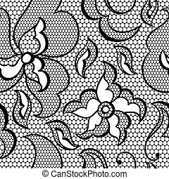 Lace fabric seamless pattern with abstract flowers.
