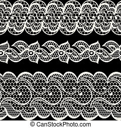 Lace fabric seamless borders with abstract flowers.