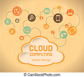 cloud computing over cream background vector illustration