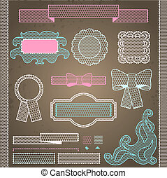 Decorative lace ribbon, bows and ornaments.