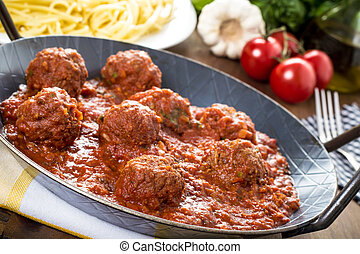 Pasta in tomato-meat sauce - meatballs and tomato-meat sauce...