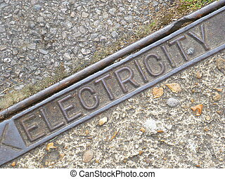 Electricity Sign - Metal electricity sign embedded in...