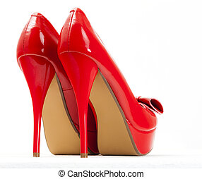 fashionable platform red pumps