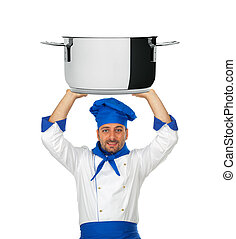 Handsome chef with pot isolated on white background