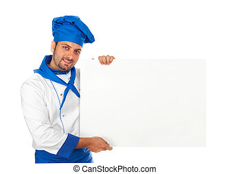Chef with advertising sign on white background