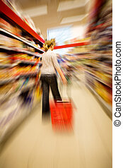 Shopping Craze - A woman shopping with zooming blur