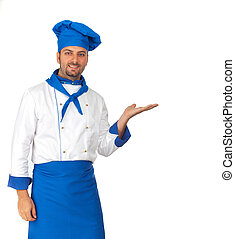 Handsome chef pointing - Handsome chef isolated pointing on...