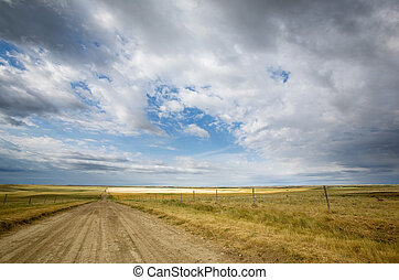 Prairie Road - A country road stretching into the distance