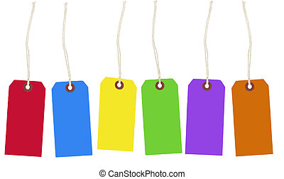 Colorful Row of Sale Tags - Row of colorful sale tags blank...