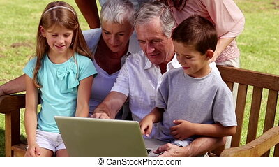Family using laptop in park