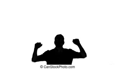 Silhouette of jumping man on white