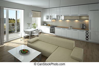 Living room - Rendering of a modern open kitchen and living...