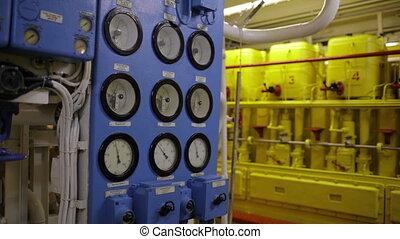 Boat interior with control panel instruments 1