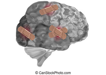 Bandages On Damaged Brain - Grey matter or brain with...