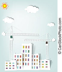 cityscape with tower cranes - vector cityscape with tower...