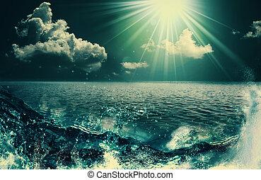 naturel, beauté, résumé, Arrière-plans, conception, océan,...