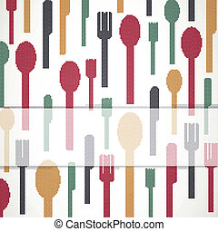 Vector Background with Cutlery - Vector Illustration of an...