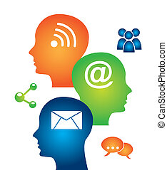 social media mind over white background vector illustration