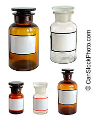 Pharmaceutical bottles set. Isolated on white background.