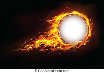 Musical Frame - illustration of fire flame in circular frame...