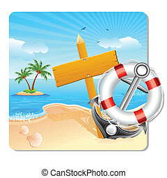Holiday on Beach - illustration of lifebouy and anchor with...