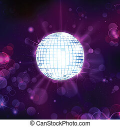 Disco Ball on Musical Background