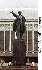 estátua, LENIN, Kyrgyzstan, Bishkek