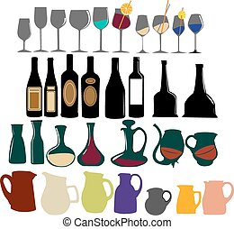 Set bottles and glasses