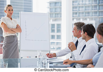 Businesswoman with arms folded in front of colleagues during...