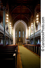 Gothic Wooden Church - An old gothic style church with a...