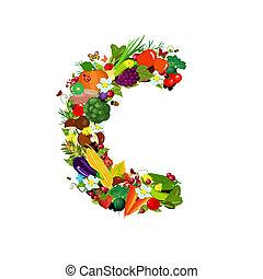 Fresh vegetables and fruits letter C