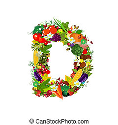 Fresh vegetables and fruits letter D